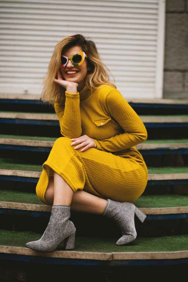 women s yellow long sleeved dress